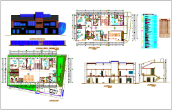 Hospital design view with plan,elevation and sectional view dwg file