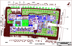 Hospital first floor plan with garden view dwg file