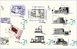 Hospital plan,elevation and section view with foundation plan dwg file