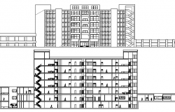 Hospital with 260 bed main elevation and section view dwg file