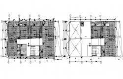 Hostel Building Roof Plan Design AutoCAD drawing