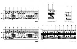 Hostel building main elevation, floor plan and auto-cad details dwg file