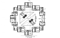 Hostel building plan detail dwg file