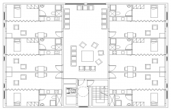 Hostel building structure detail plan 2d view dwg file