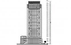 Hotel Building Elevation Design DWG File
