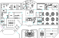 Hotel layout plan with furniture detail