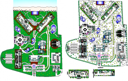 Hotel Layout plan with Landscaping Design dwg file