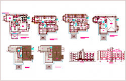 Hotel and resort plan design view with ground to fourt floor plan and elevation dwg file