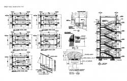 Hotel blocks details of staircase sections and structure of all floors dwg file
