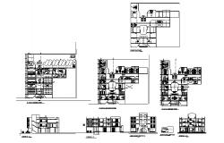 Hotel building drawing with section and elevation in autocad