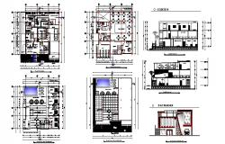 Hotel building elevation, section and floor plan details dwg file