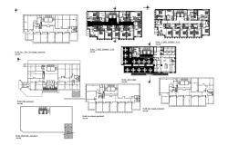 Hotel building floor plan with detail dimension in dwg file