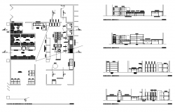 Hotel building kitchen structure detail plan and elevation layout dwg file