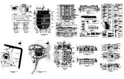 Hotel building structure detail plan, elevation and section layout file