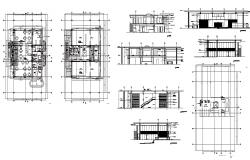 Hotel building structure detail plan and elevation 2d view layout autocad file