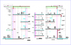 Hotel different axis section view with architectural view dwg file