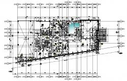 Hotel first-floor plan with detail dimension in autocad