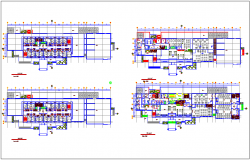 Hotel floor plan with architectural view dwg file