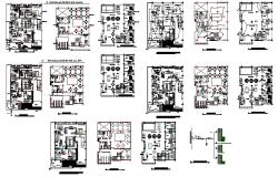 Hotel floors layout plan, electrical installation and auto-cad details dwg file