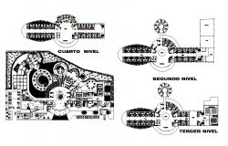 Hotel four star ground, first, second and third floor plan cad drawing details dwg file
