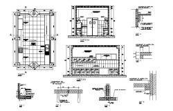 Hotel kitchen constructive section, plan and auto-cad details dwg file