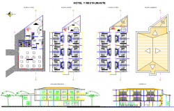 Hotel plan, elevation and section layout file