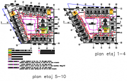 Hotel planning detail dwg file
