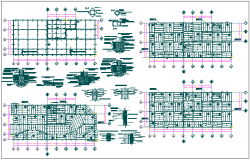 Hotel restaurant floor plan detail & structure section view dwg file