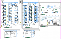Hotel room and parking plan autocad file