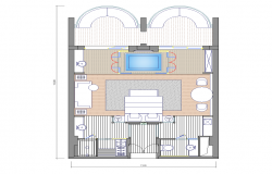 Hotel room structure detail 2d view plan layout autocad file