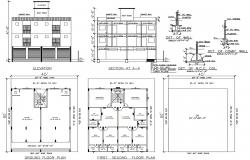 House  Plan with Elevation and Section Plan