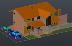 House 3 D plan detail dwg file