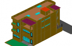 House 3 d levels plan detail dwg file