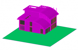 House 3D view design with architectural view dwg file