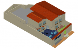 House 3d view with architectural view dwg file