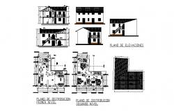 House all sided elevation, cover plan, floor plan and section details dwg file