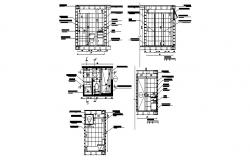 House bathroom section, plan and sanitary installation details dwg file