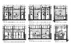 House bathrooms and kitchen section, plan and installation details dwg file