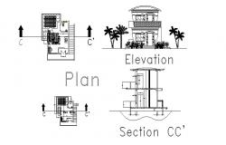 House bedroom elevation, section and plan cad drawing details dwg file