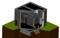 House construction 3d sections detail in cad