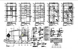 House constructive section, foundation, and electrical layout plan details dwg file