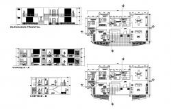 House design 18.05mtr x 8.65mtr with detail dimension in autocad