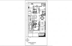 House design plan 30' x 50' with furniture detail in autocad