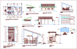House design plan for general service and sectional view dwg file