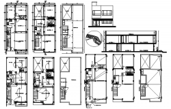 House design plan with section and elevation details in dwg file