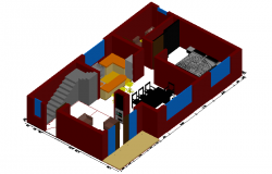 House design view in 3D with dimension dwg file