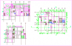 House design view with plan and elevation view dwg file