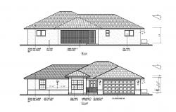 House design with elevation in autocad