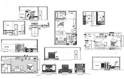 House design with furniture details in autocad