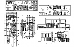 House design with section and elevation details in dwg file
